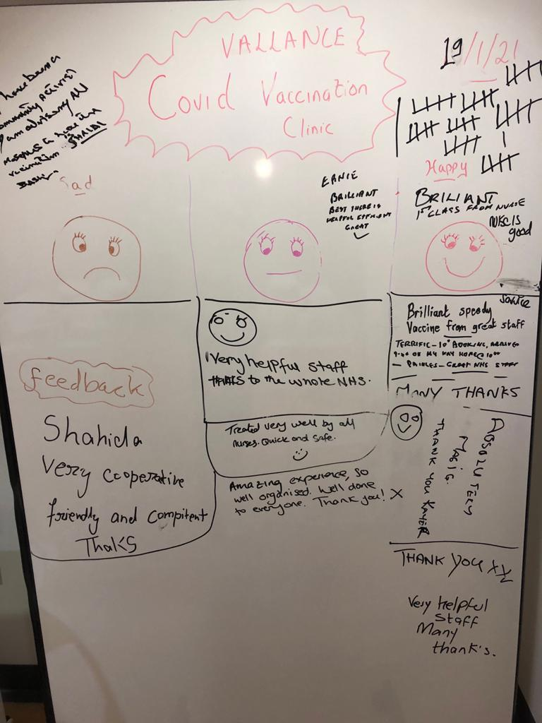 a white board with patients' writing Brilliant very helpful staff, thanks to the NHS, well done