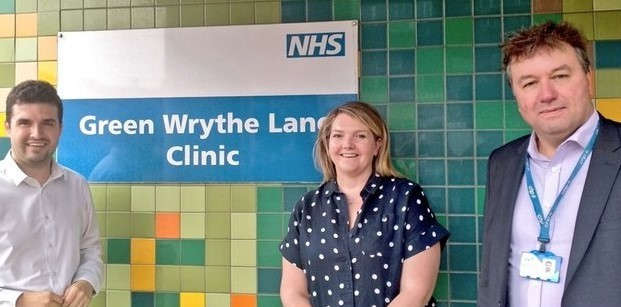 Elliot Colburn MP visits Green Wrythe Lane Health Centre as building celebrates 15th anniversary of supporting local residents and NHS